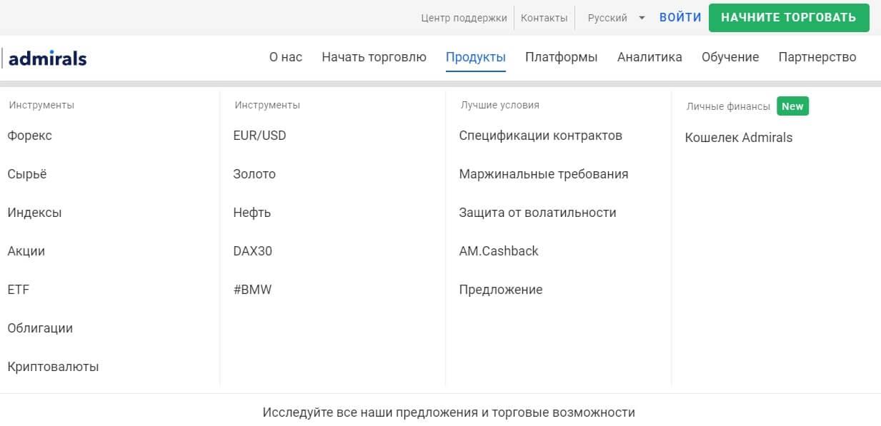 Продукты инвестиционной компании Admirals